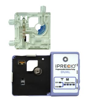 iPRECIO DUAL Pump and its disposable cartridge